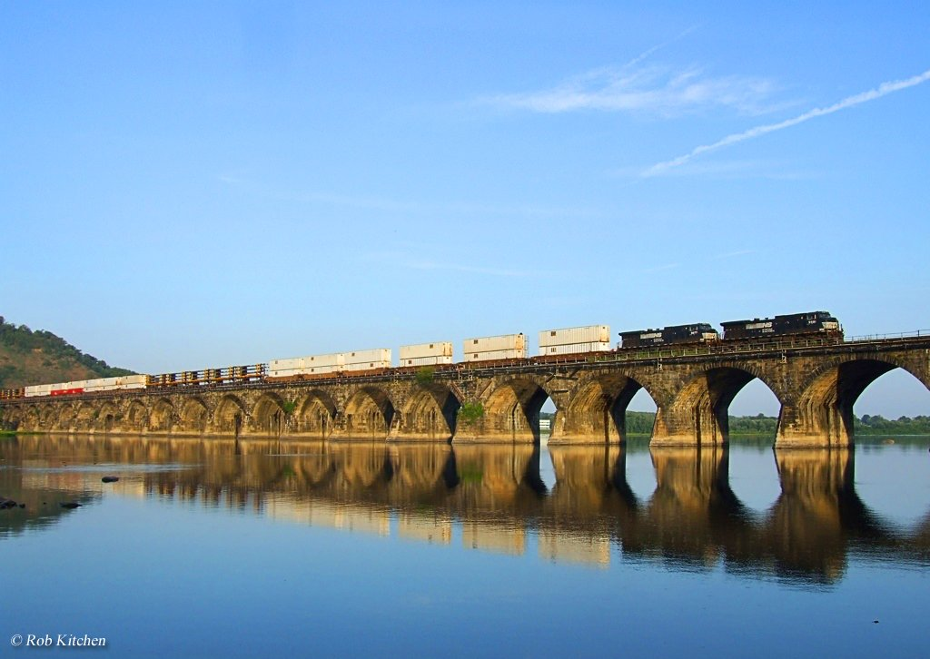 A train makes its way across the Rockville Bridge's 48 arches all with 70-foot spans.