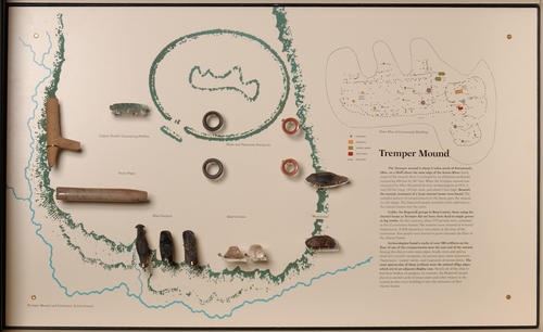 Expanded drawing with examples of found artifacts including earrings or plugs.