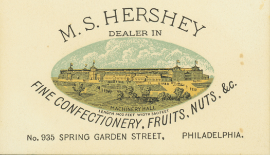 Milton Hershey's first business card featuring the Centennial Exposition's machinery hall.