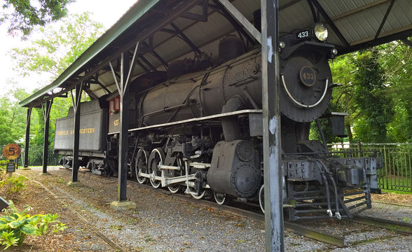 "The Legendary ""Virginia Creeper"" engine is on display at the Welcome Center"