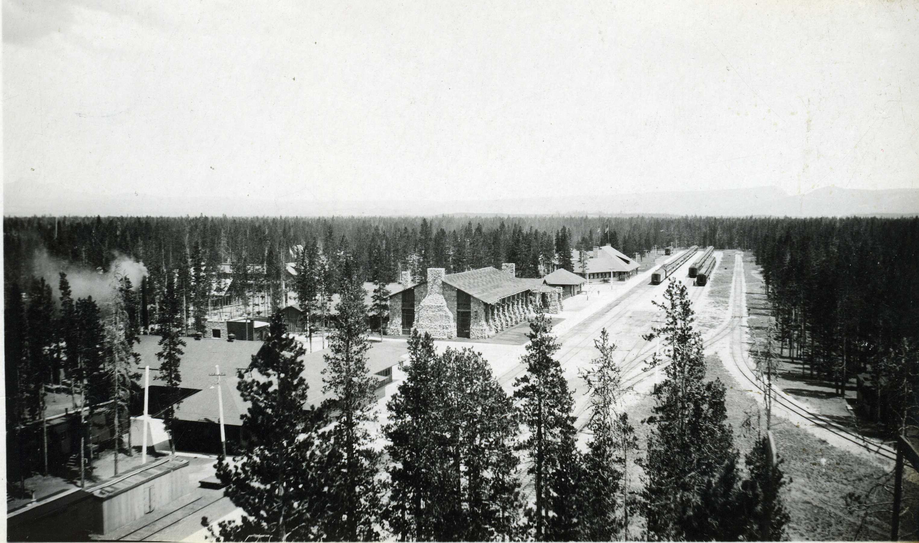 A view of the Union Pacific historic district showing the old housing facilities towards the bottom left of the photograph.