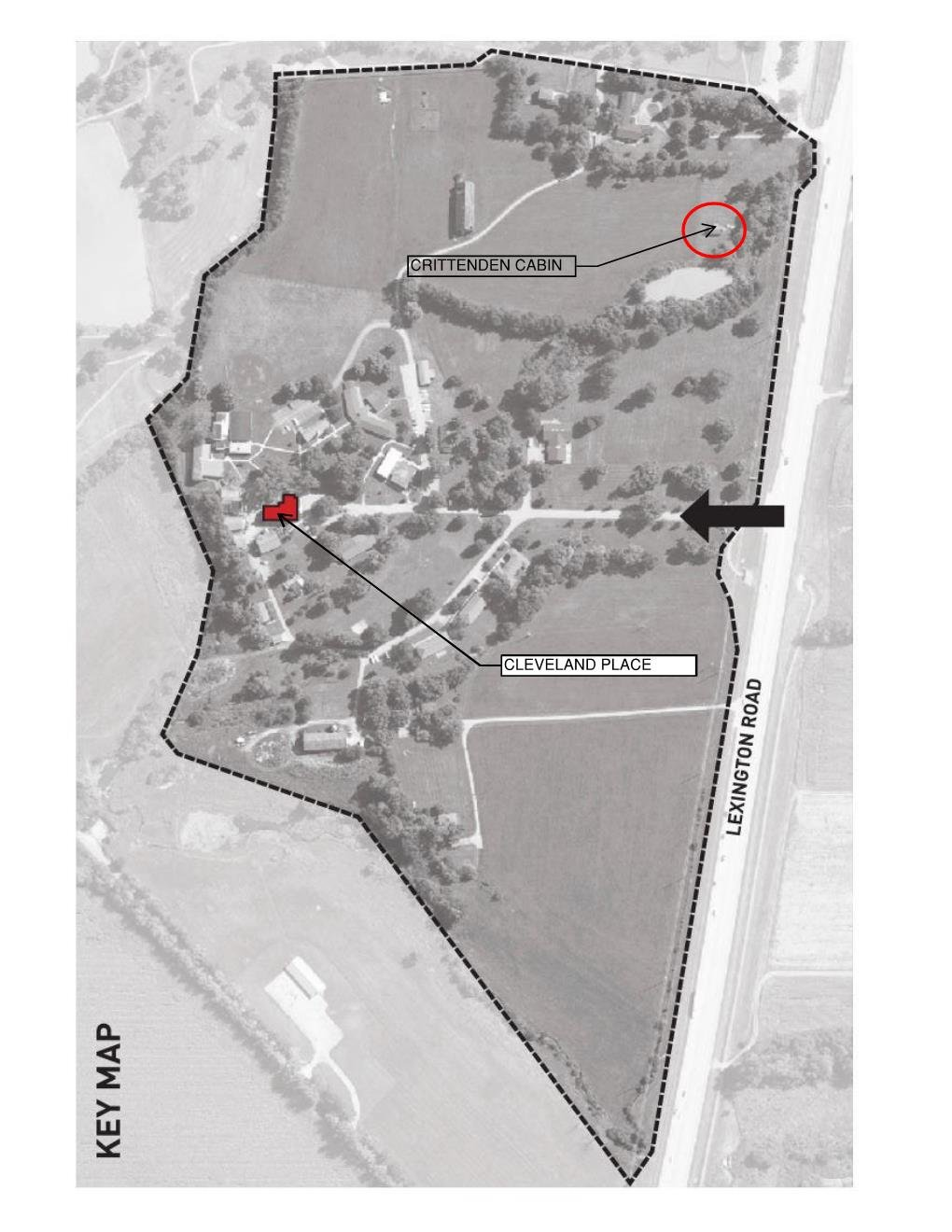 Cleveland Place Site Plan - Also showing relationship to Crittenden Cabin as currently relocated on site.