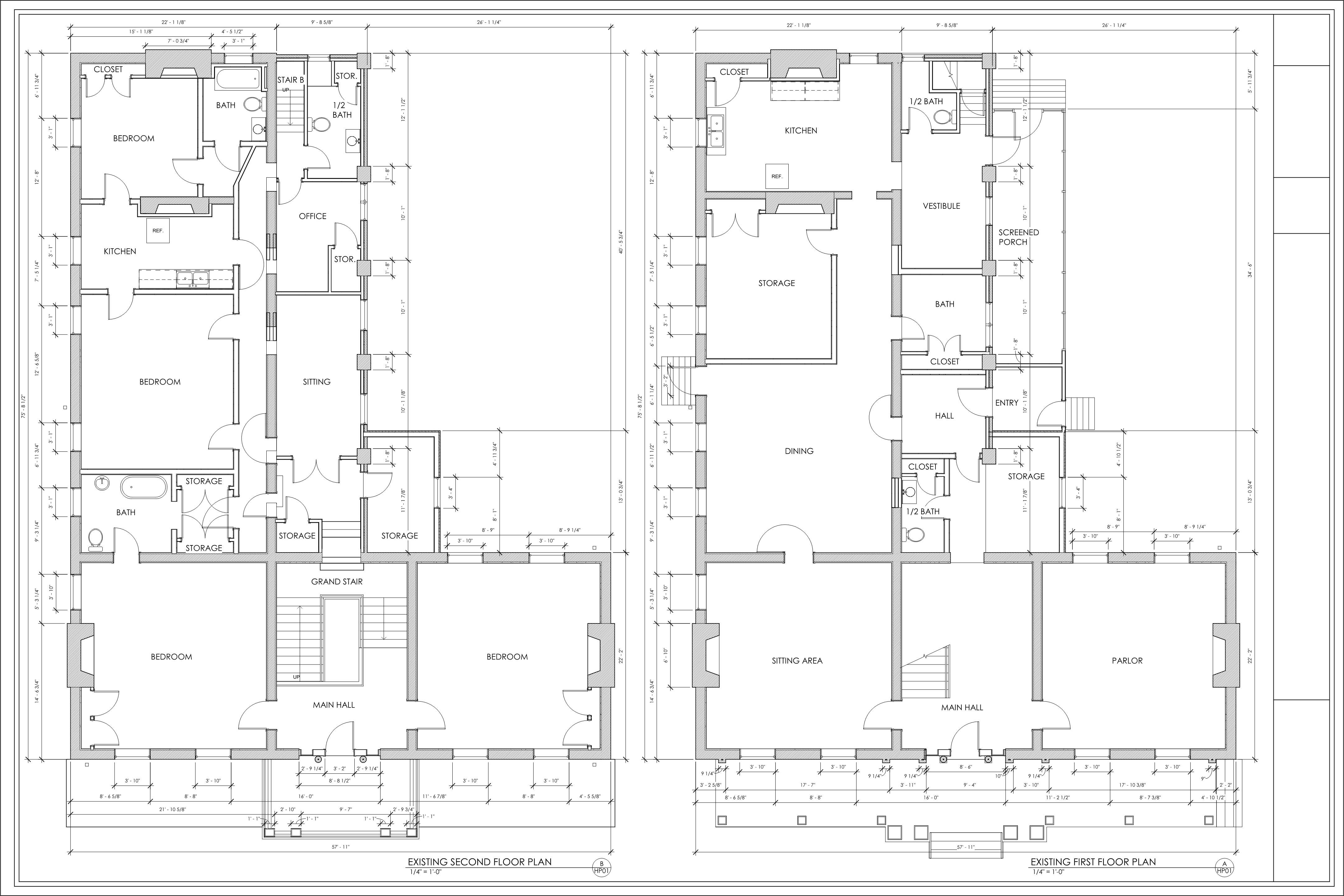 Measured Drawings of both First and Second Floors per Field Measurement, Fall 2017.