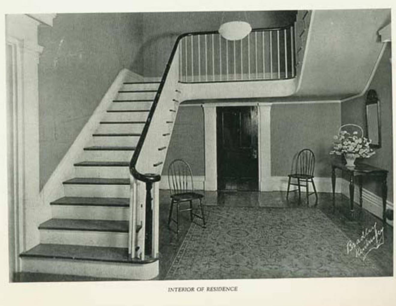 Historic Photo of Main Hall.  Note: there is no doorway at stair landing. 1924.