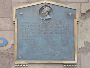 Plaque located outside of Mclevy Hall commemorating the visit from our President Abraham Lincoln. This plaque marks the site where Lincoln spoke.