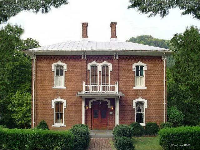 The Lathrop Russell Charter House that stands at the highest point in the town of West Union, West Virginia.