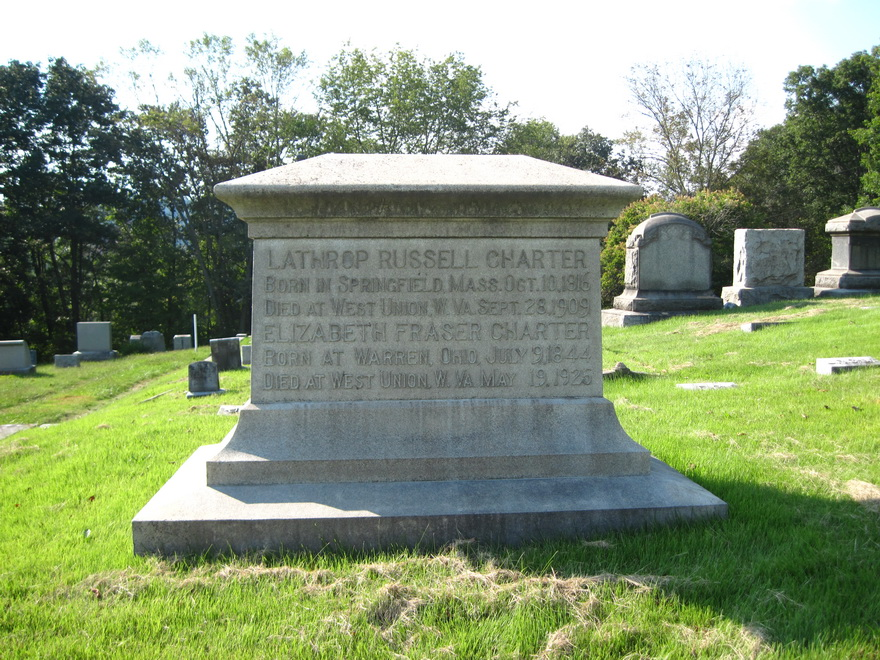 Headstone of Lathrop Russell Charter and his second wife Elizabeth Fraser at Blockhouse Hill Cemetery in West Union.