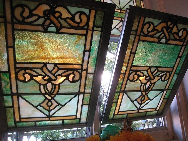A close-up of Salem's stained glass windows.