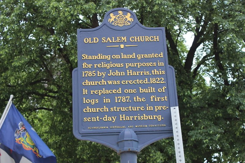 The historical marker for the Old Salem Church.