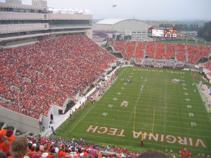 Lane Stadium upper stands; image by Campaigner444 at the English language Wikipedia, CC BY-SA 3.0, https://commons.wikimedia.org/w/index.php?curid=2507117
