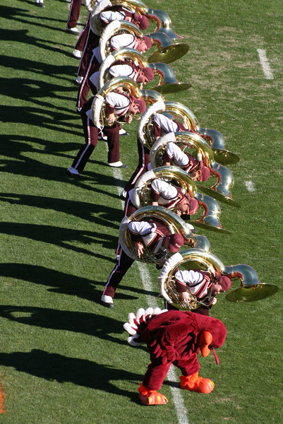The Marching Virginians tuba section performing the Hokie Pokie in the north end zone; image by By RadioFan (talk) - Own work, CC BY-SA 3.0, https://en.wikipedia.org/w/index.php?curid=24415216