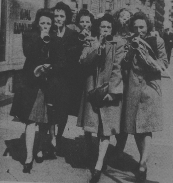A group of women celebreating Victory in Europe day in London, May 8, 1945.