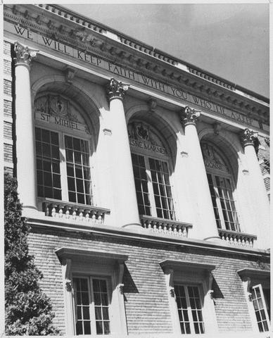 Memorial Hall exterior detail, ca. 1950s