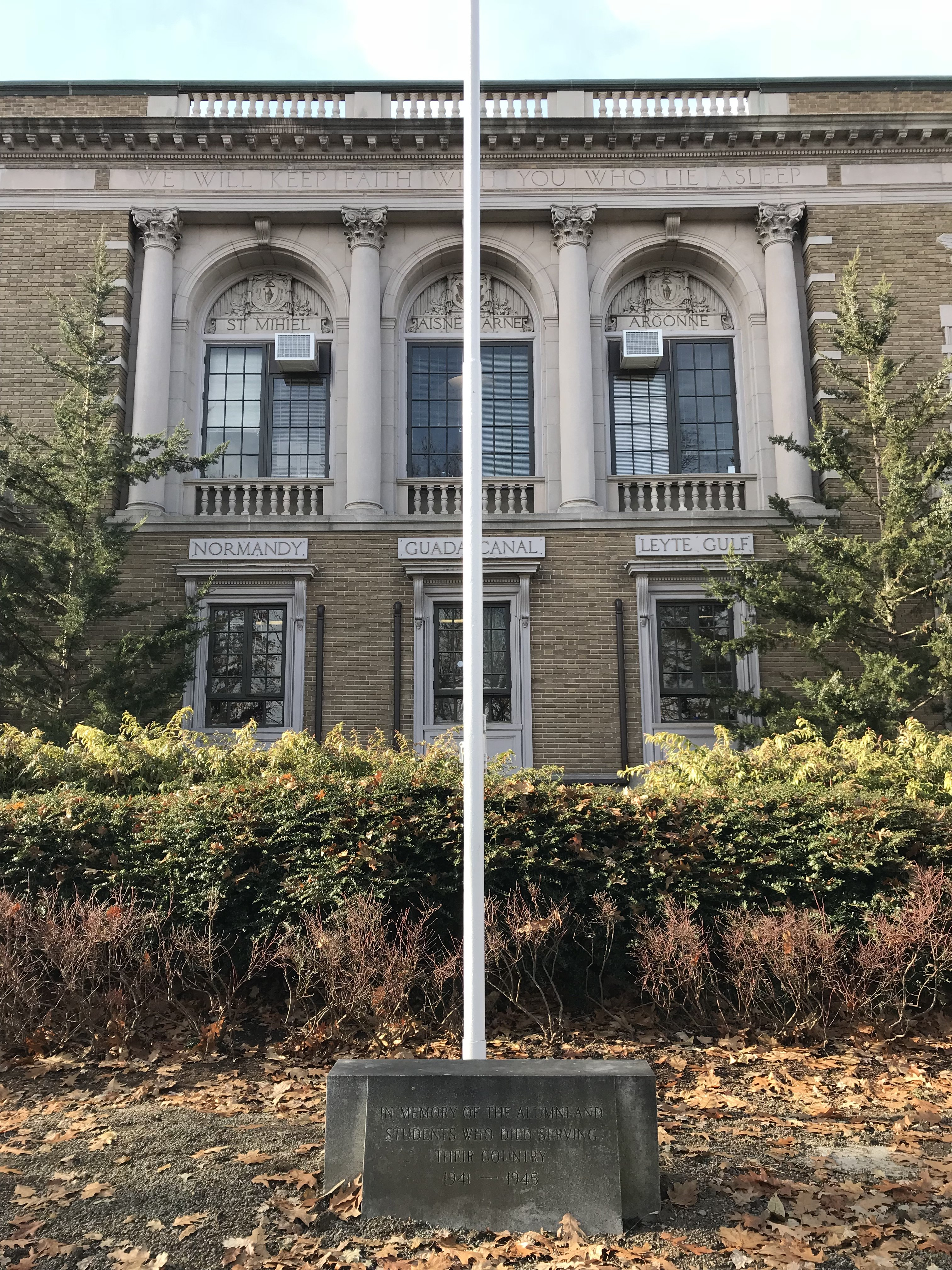 Memorial Hall grounds, grey granite WWII flagpole memorial, 2017