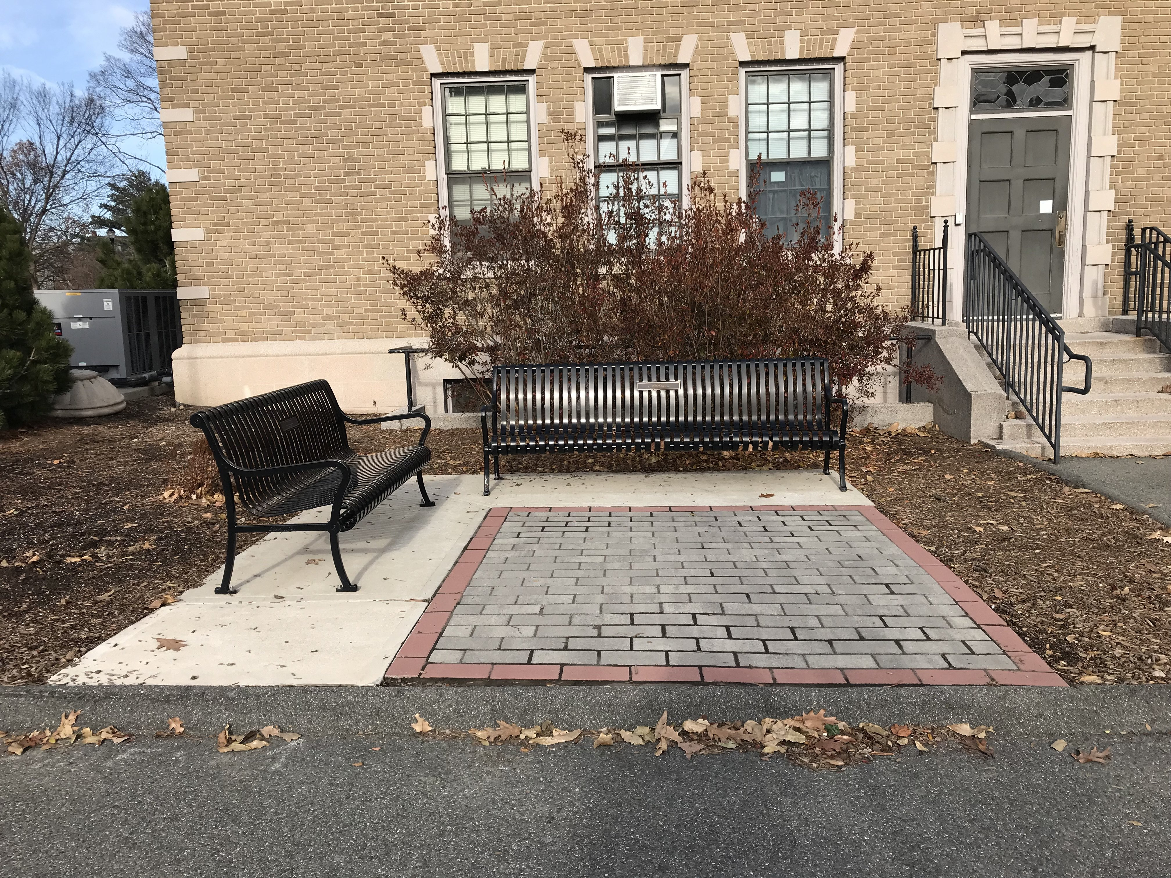 Memorial Hall grounds, memorial benches for Debbie Boden (class of 2004) and Sharon M. Galligan, 2017