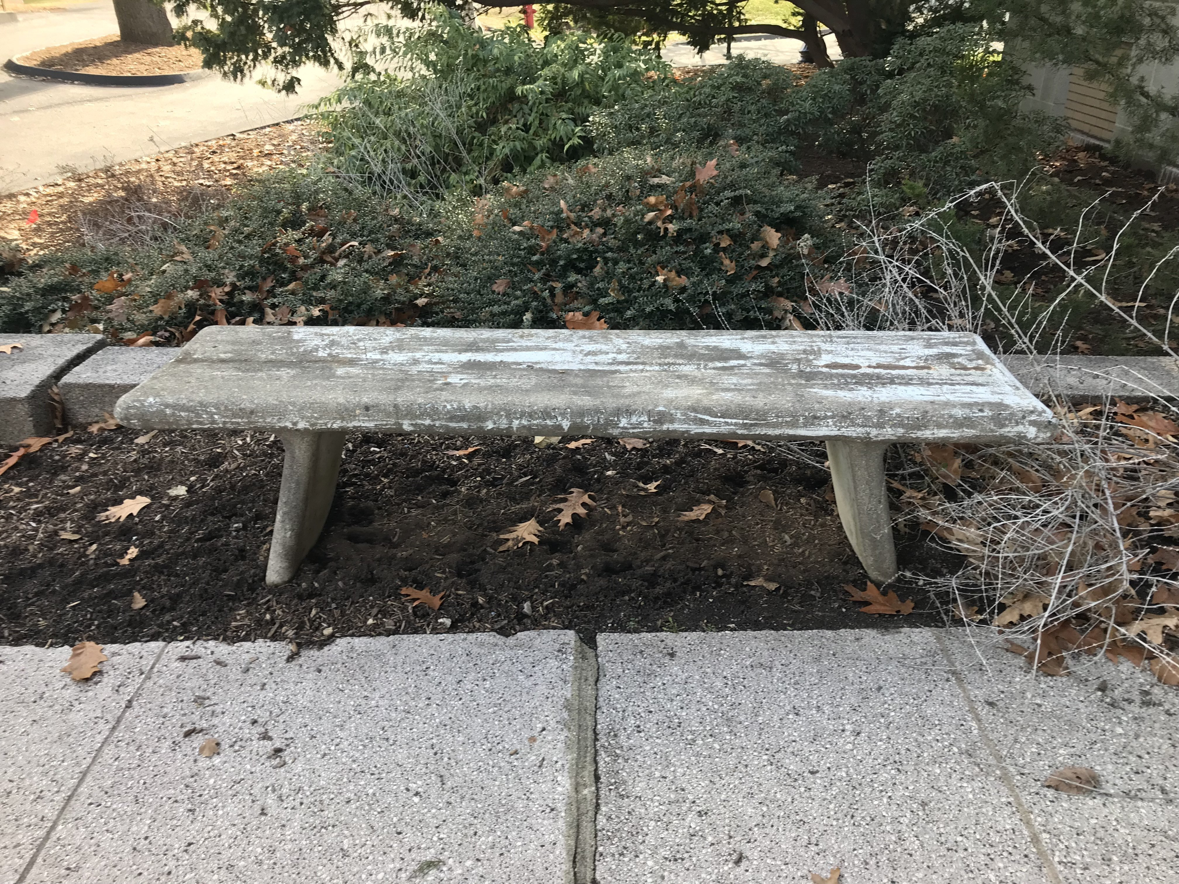Memorial Hall grounds, Class of 1921 bench, 2017