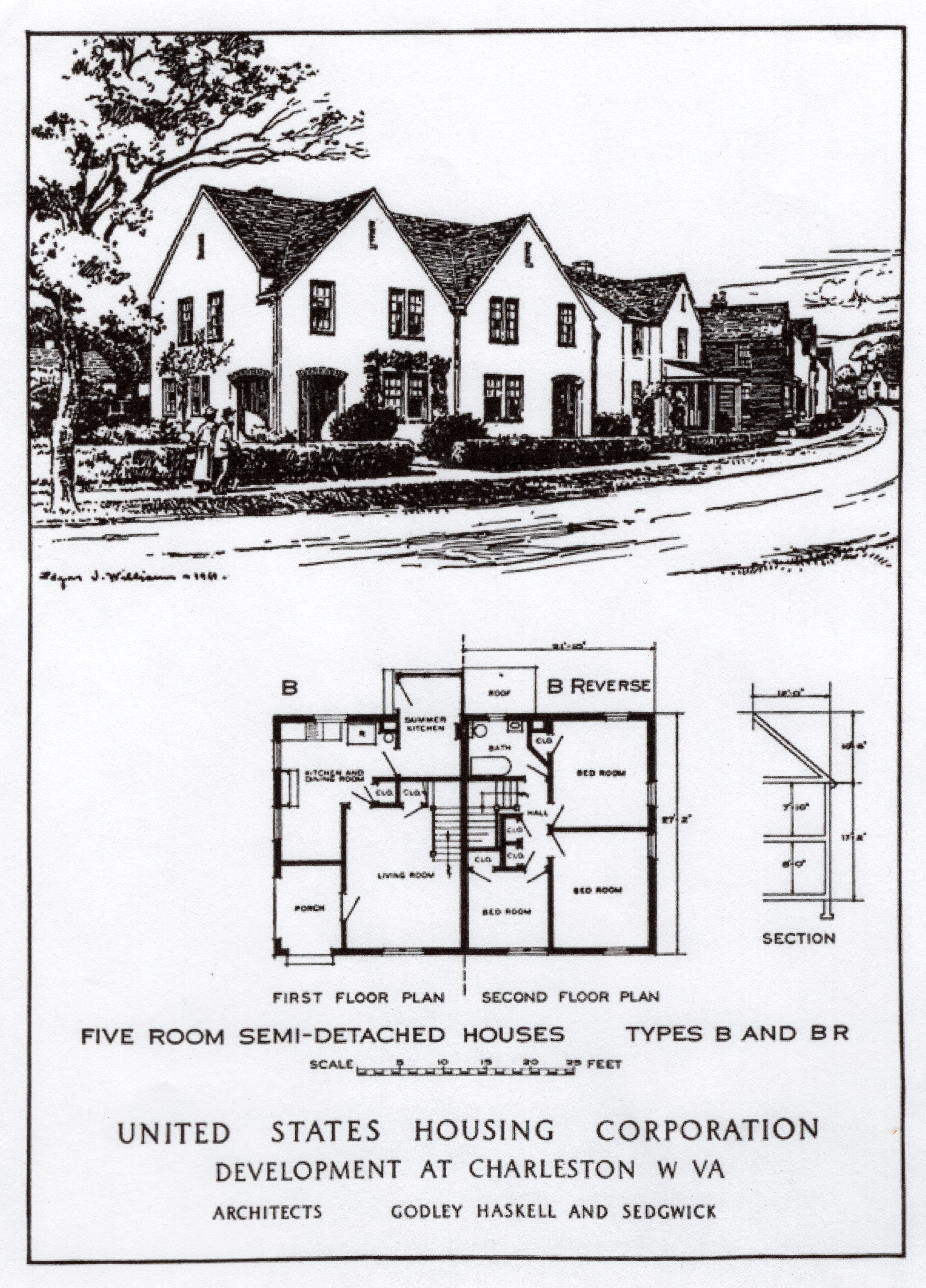 "Schematic of a Type ""B"" home in the park. The Department of Labor report considered the homes to be ""very well designed and the plans carefully worked out."""