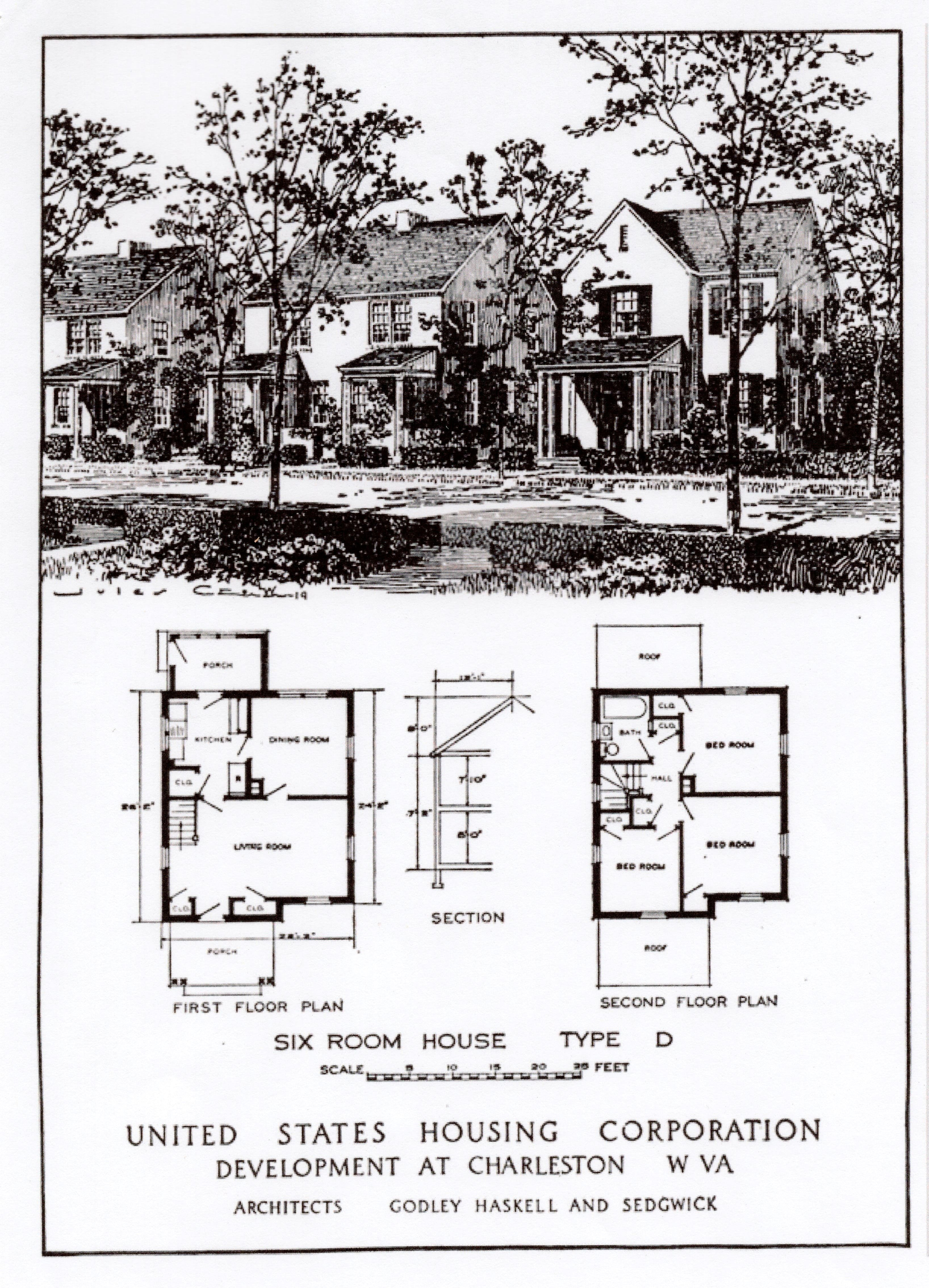 "Schematic of a Type ""D"" home. Due to to cost, window blinds were not included with the homes--a fact important enough to be included in the Department of Labor's report in 1919."
