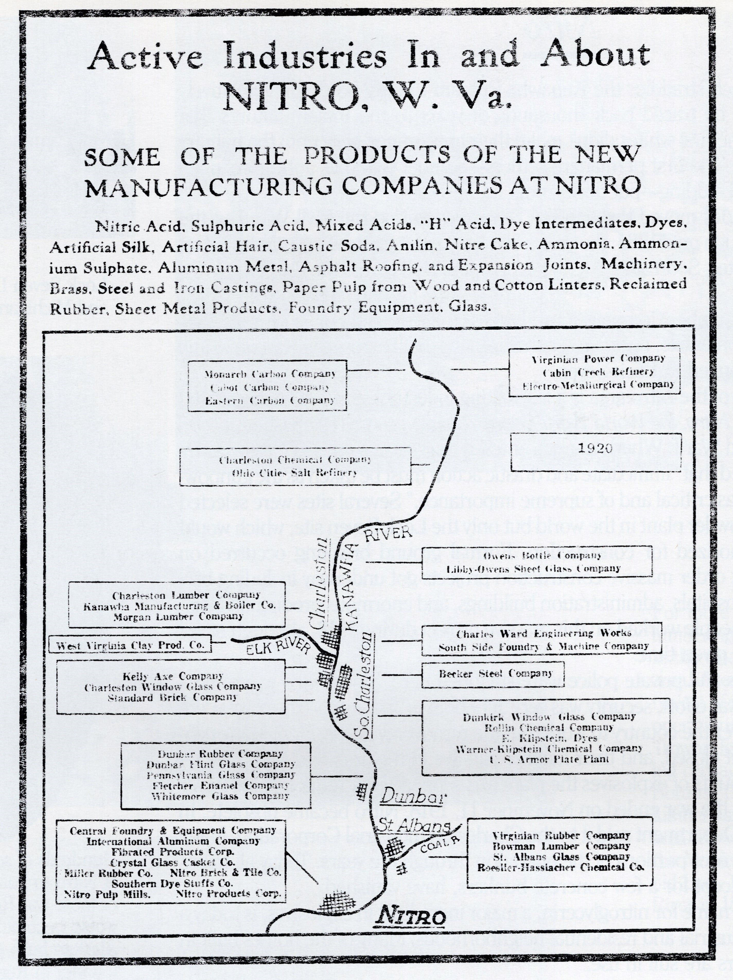 A 1920 advertisement touting the economic prospects of Nitro and the Kanawha Valley. The Ordnance Plant is listed, along with most of the other major industries of the area--many of which were involved in both World Wars.