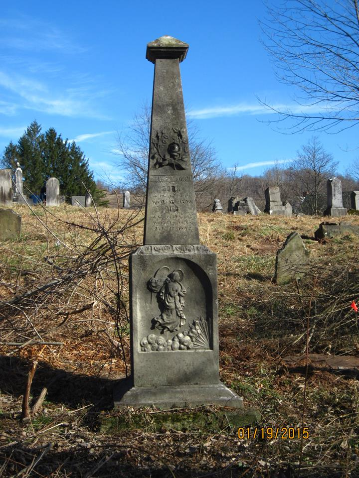 Monument to Lewis Maxwell, a prominent lawyer in West Union and founder of Weston and Jane Lew in West Virginia, at the Blockhouse Hill Cemetery