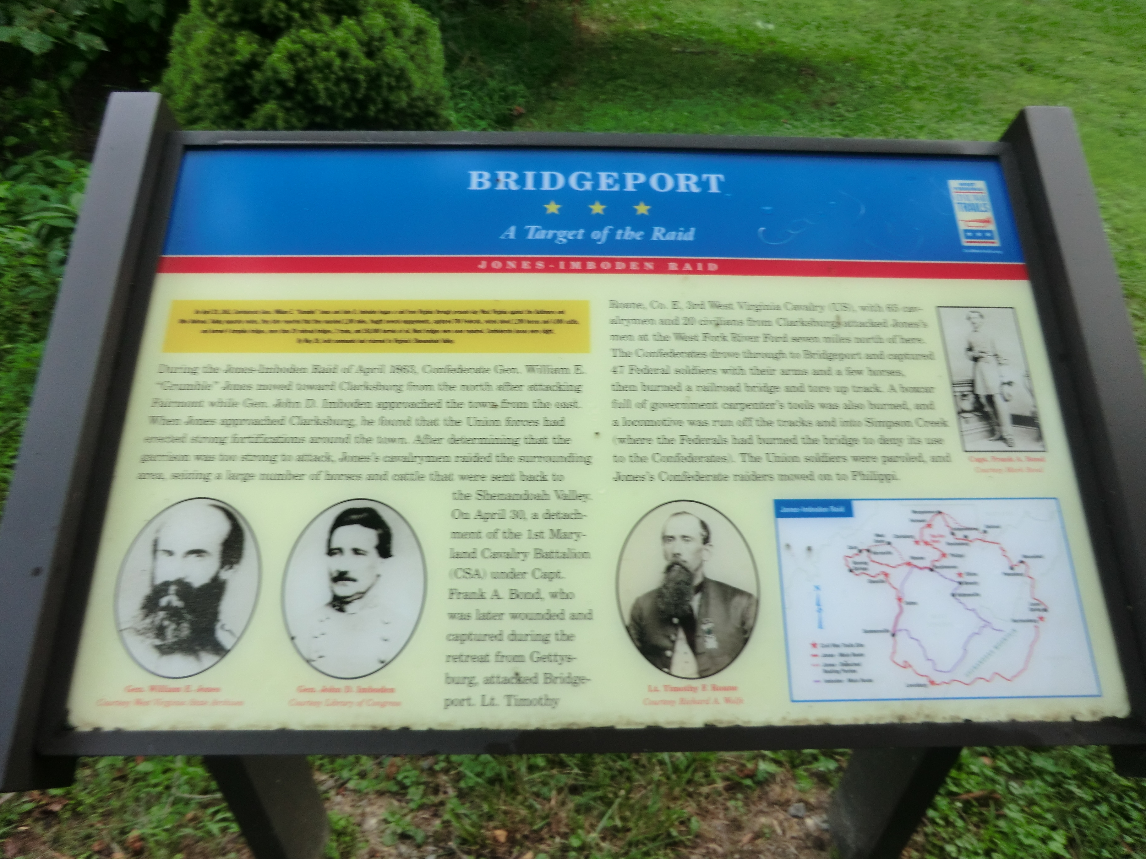 Historical marker in Bridgeport regarding the Jones-Imboden Raid.