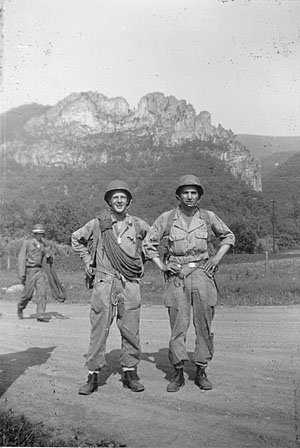"World War II wilderness assault training school for the army during 1943 and '44. This was taken in June 1944. Richard Schoen, at left, and Frank ""Lefty"" Sadjewski. Photograph courtesy of Richard Schoen."