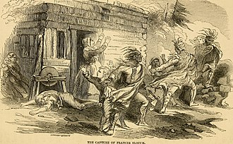 Drawing of Frances Slocum's capture at her home in Wilkes-Barre, Pennsylvania.