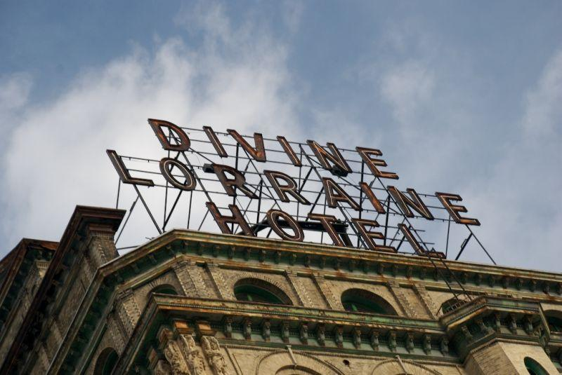 The sign above the Divine Lorraine Hotel