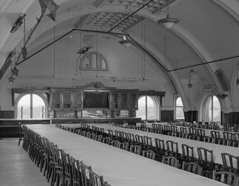 The community room of worship at the Divine Lorraine Hotel