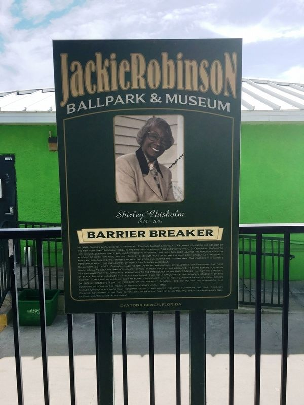 Shirley Chisholm's Land marker at the Jackie Robinson Ballpark and Museum