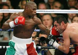 Mayweather landing another left hook
