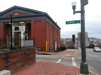 View of were the marker is located on East Broad St & College St. This was the second building for the church, the first being torn down.