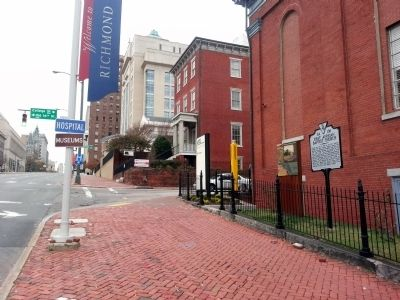 View of were the marker is located on East Broad St & College St. It is now apart of the Virginia Commonwealth University campus.