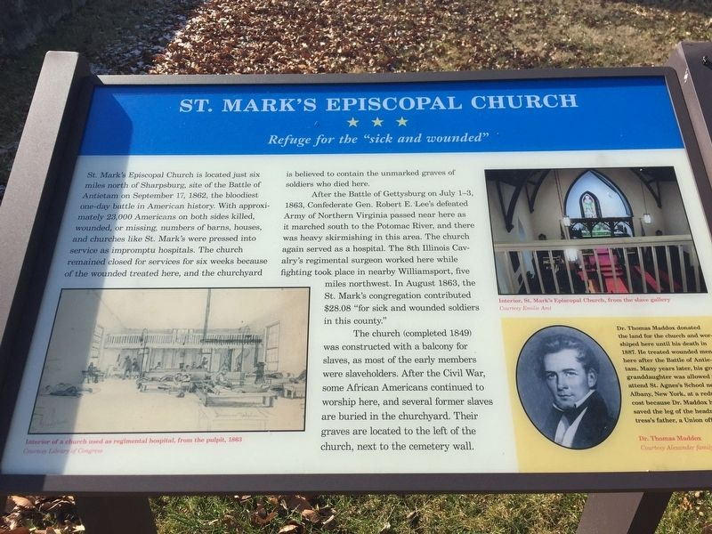 St. Mark's Episcopal Church Marker which tells how the Church served as a hospital during the Civil War