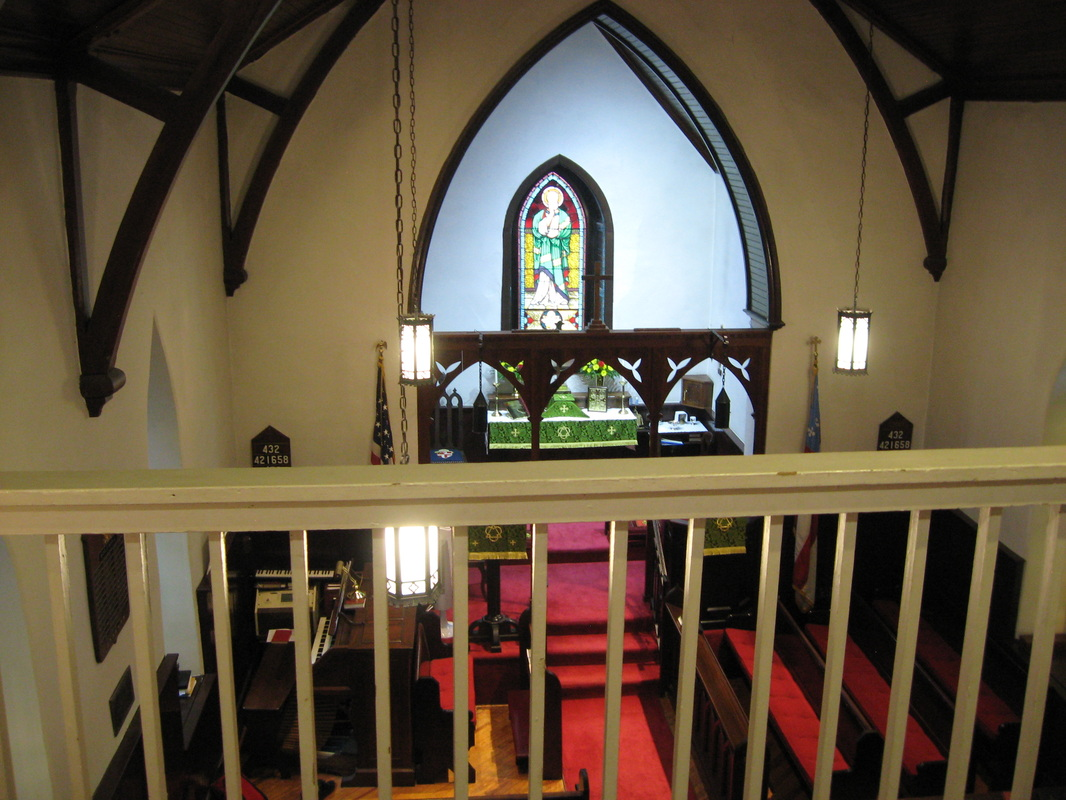 The interior of St. Mark's Church as seen today from the slave balcony. The Slave Balcony was added to the original plans and cost an additional $50.