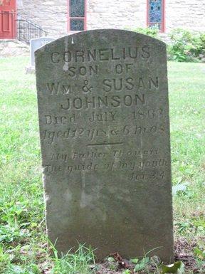 1863 gravestone of Cornelius Johnson, probably a slave, in the St. Mark's Episcopal Church cemetery