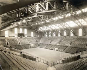 An early photo of the Palestra and its innovative roof design that eliminated interior pillars that blocked the view of spectators.