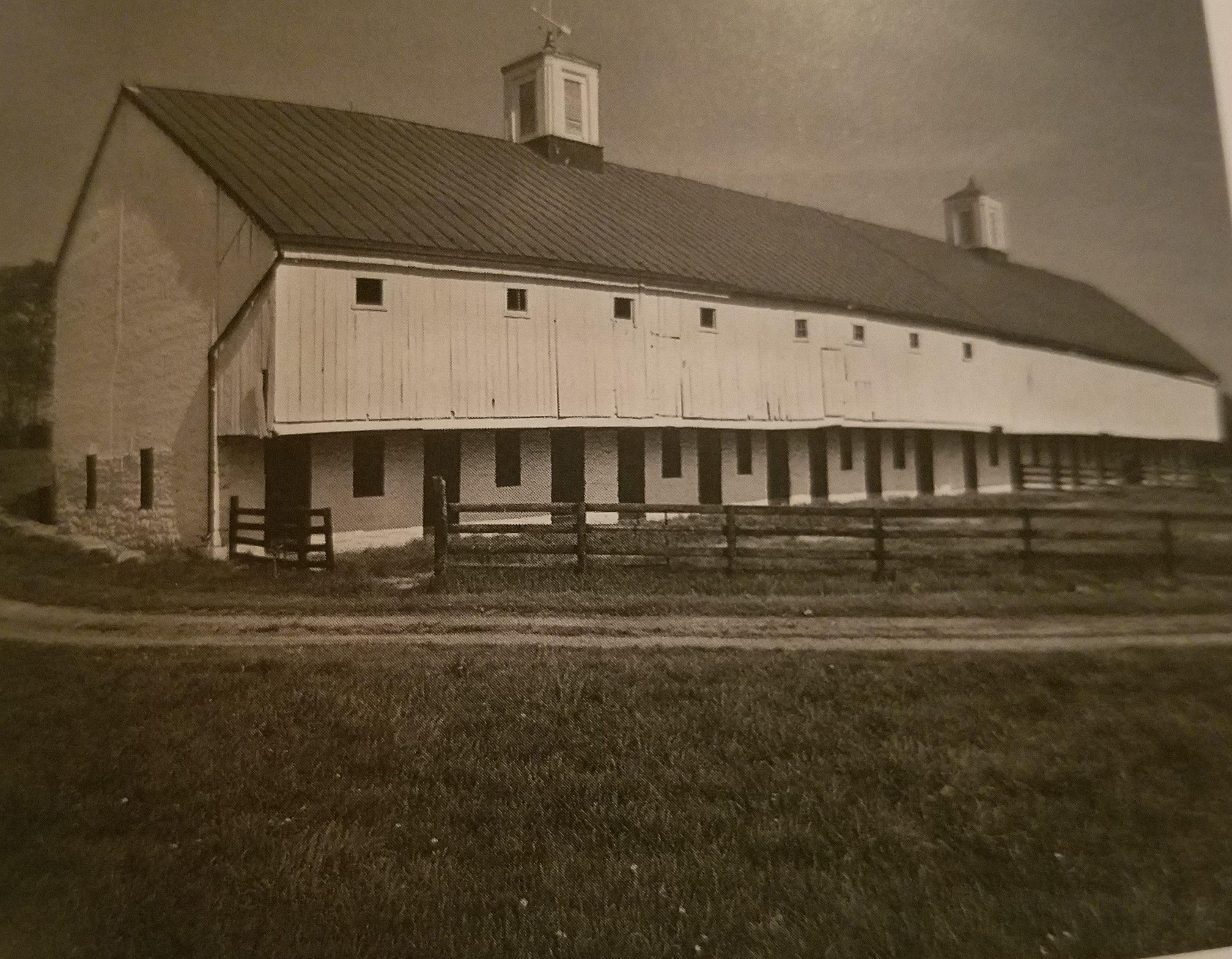 The Bank Barn was constructed in 1850 and remains in good condition still providing for the farms agricultural needs.
