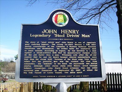 Front of the John Henry marker which displays an overview of the folklore and its impact on history.