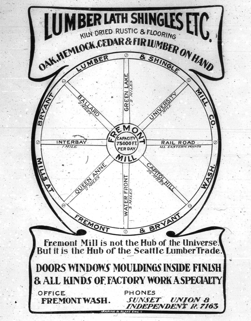 Lumber advertisement published in 1904, one of the earliest depictions of Fremont being at the center of everything.