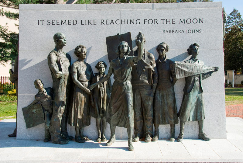 Virginia Civil Rights Memorial is located next to the gates of the Executive Mansion