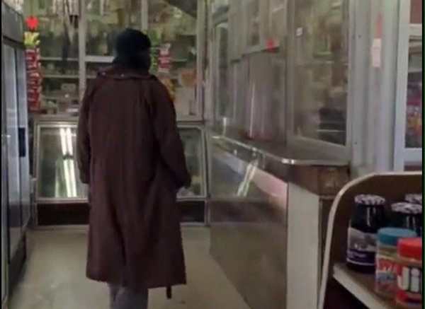 Character Omar Little, played by actor Michael K. Williams, on The Wire, walks into the once real life market, Novak's Food Market on the East Side of Baltimore