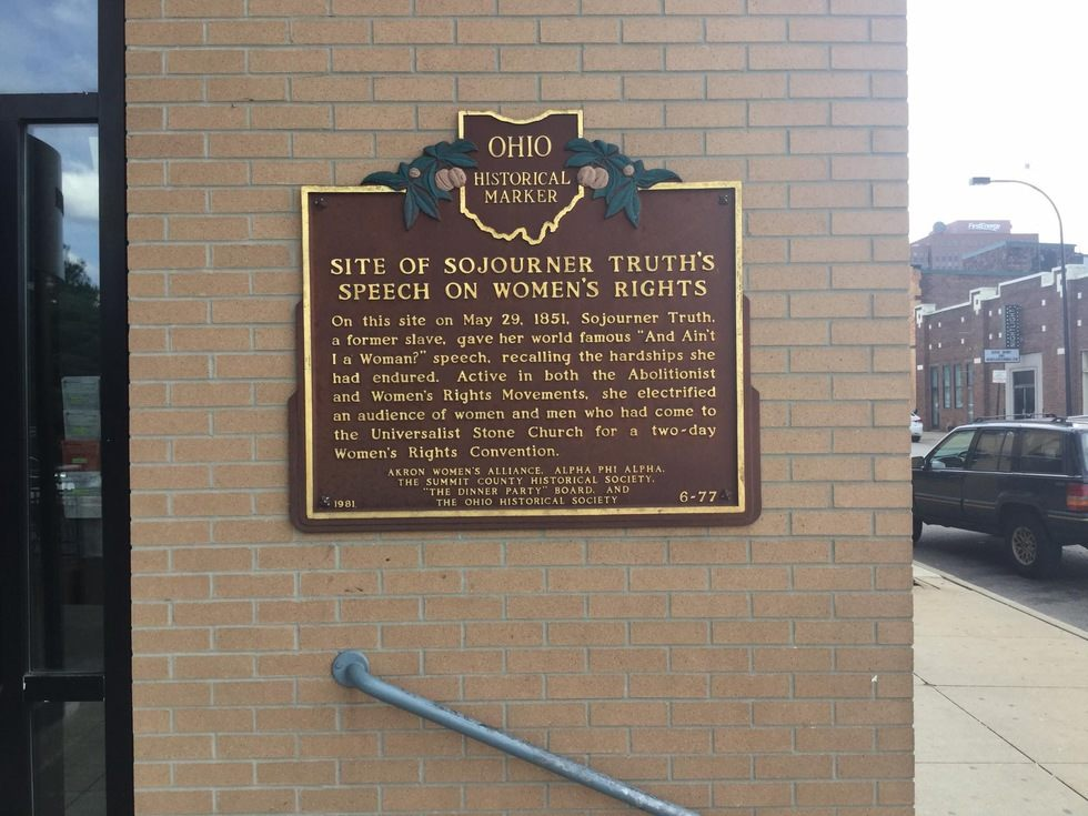 This marker erected in 1981 that stands on the Sojourner Truth Building.