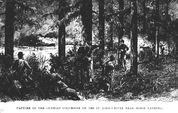An ambush was set up on the Union-controlled side of the river to destroy the USS Columbine