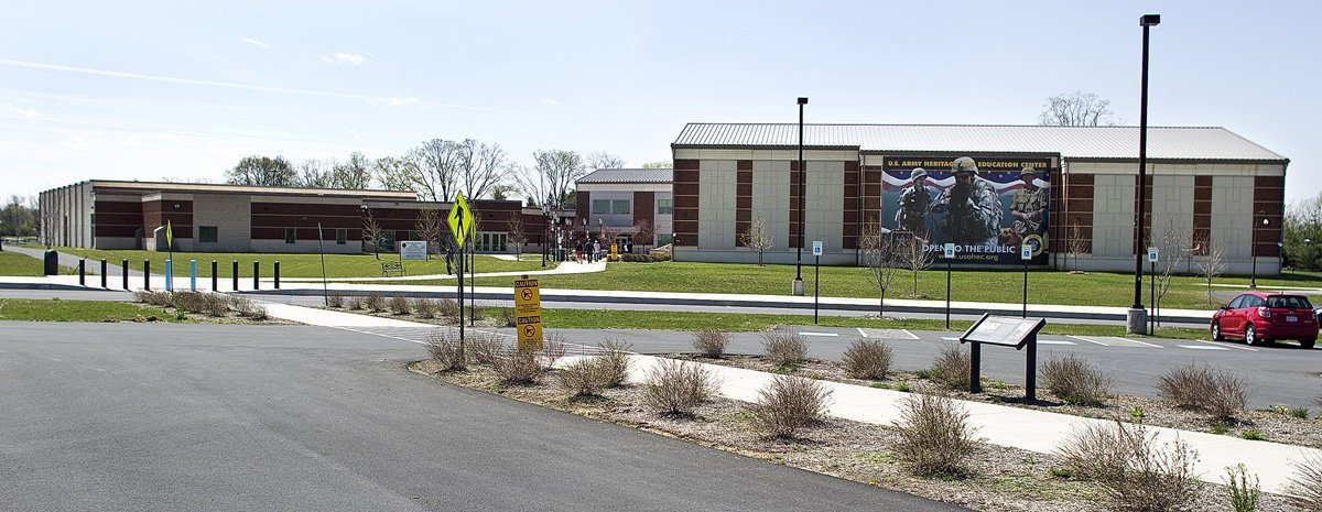 A view of USAHEC's Ridgeway Hall and Visitor and Education Center.