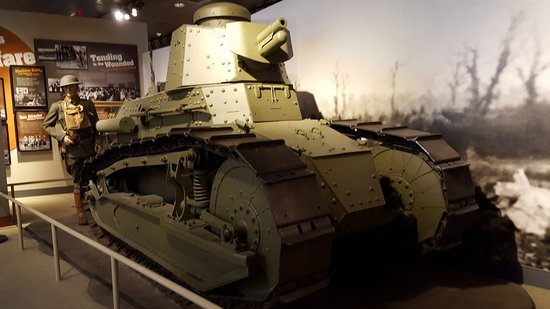 A World War I tank on exhibit within the Army Heritage Museum.