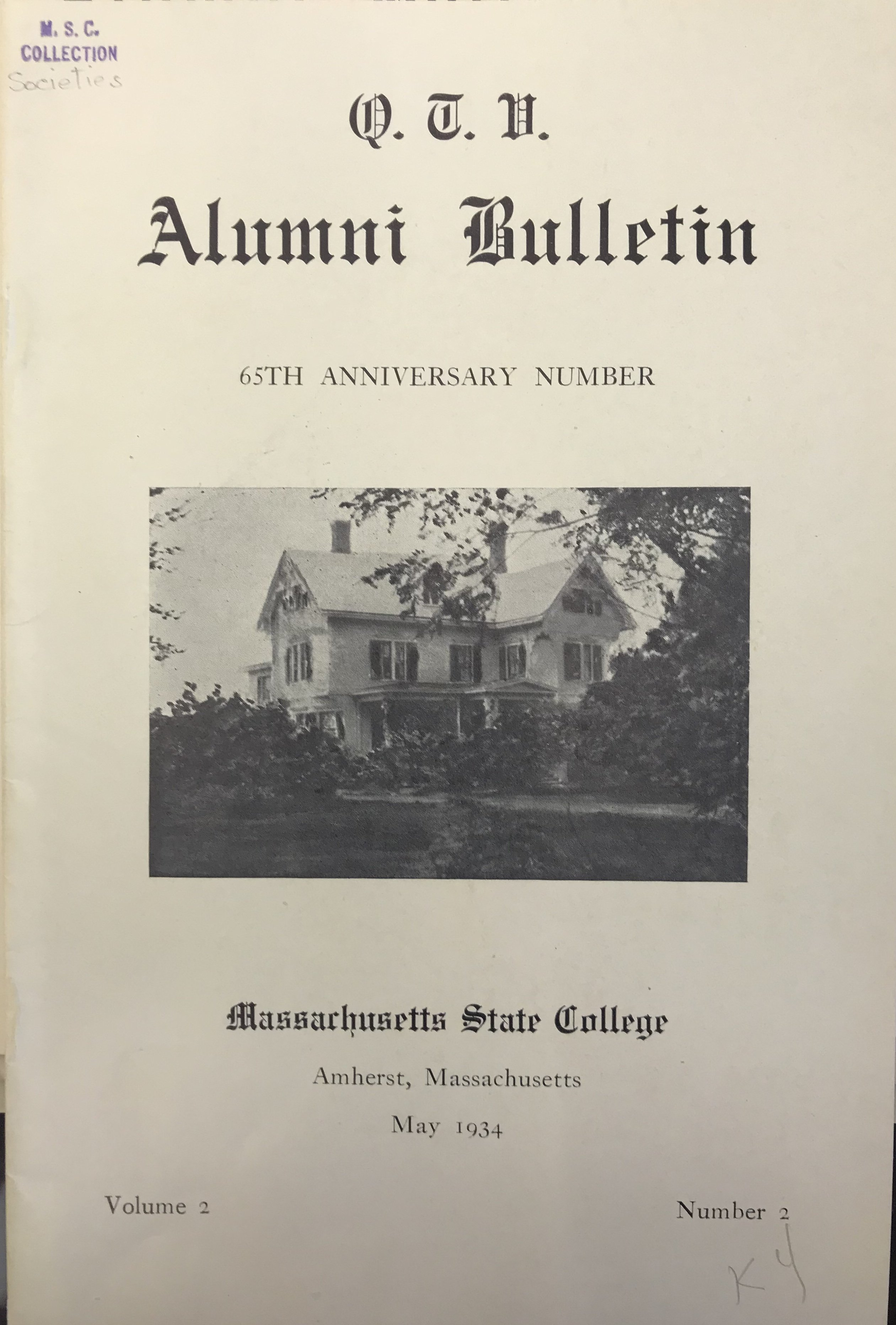 Alumni Bulletin, showing original Fearing fraternity house.