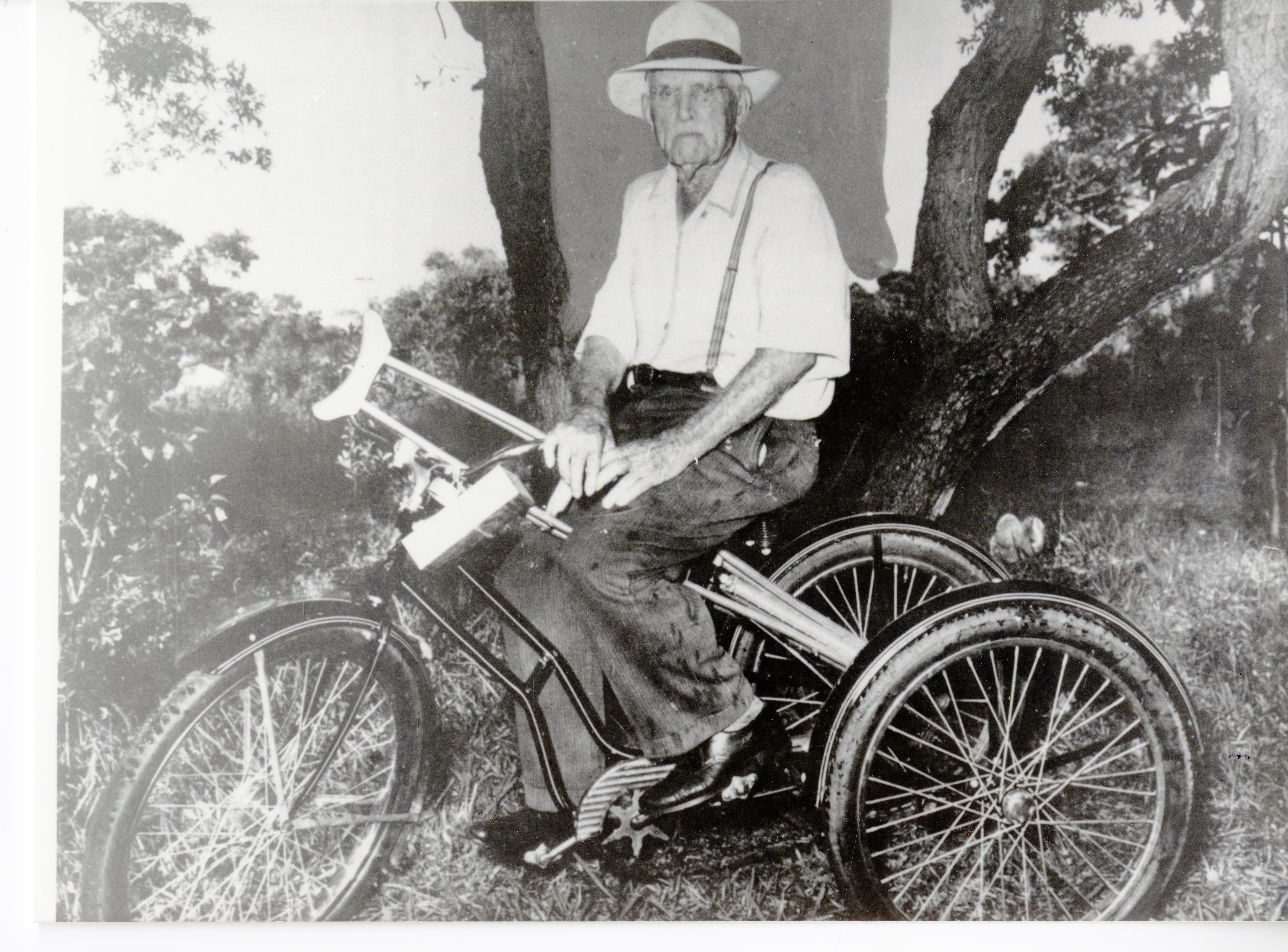 Jefferson T. Lowe on a bicycle, circa 1950.