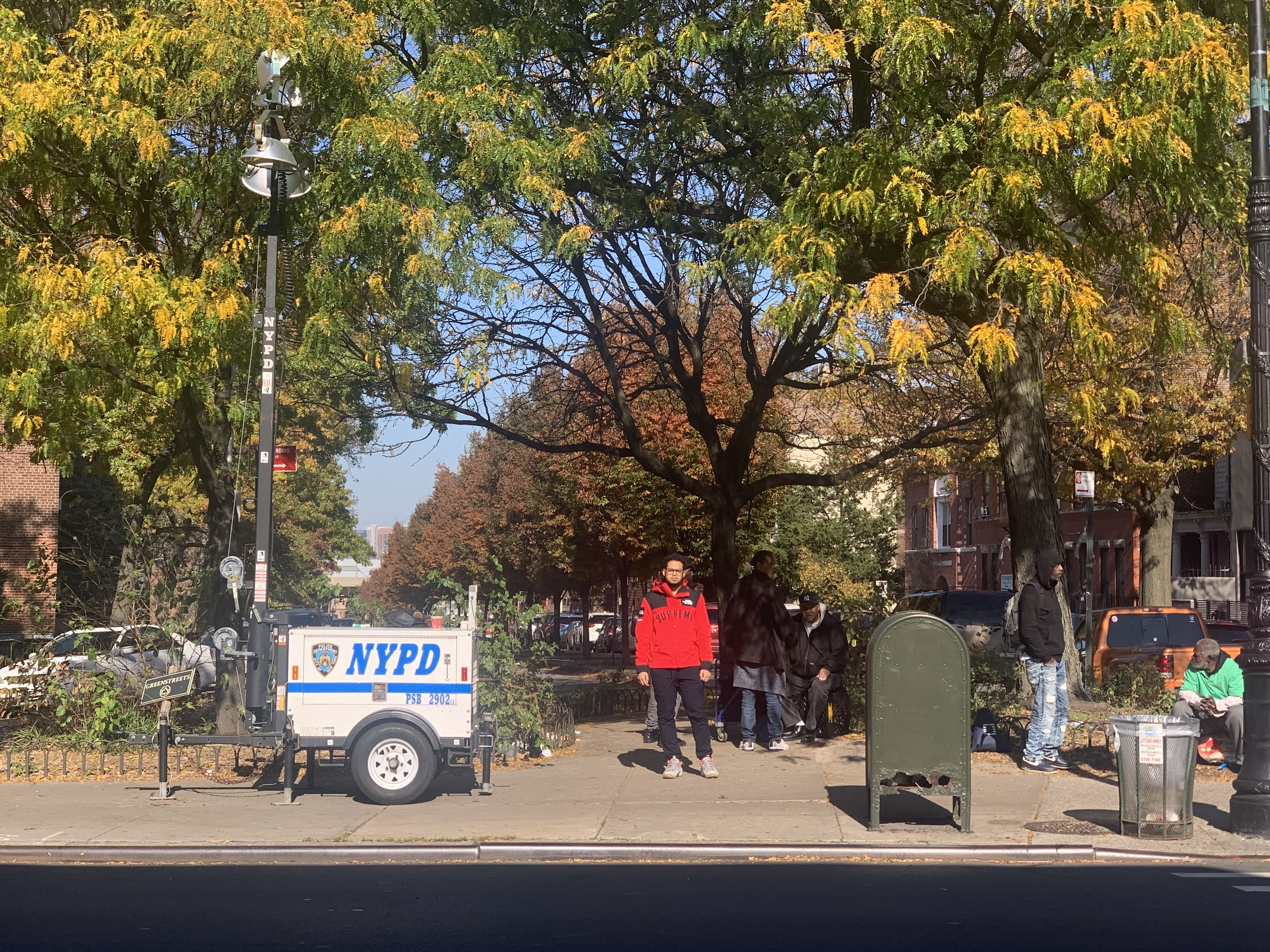 Standing in front of Person Square on Myrtle Avenue