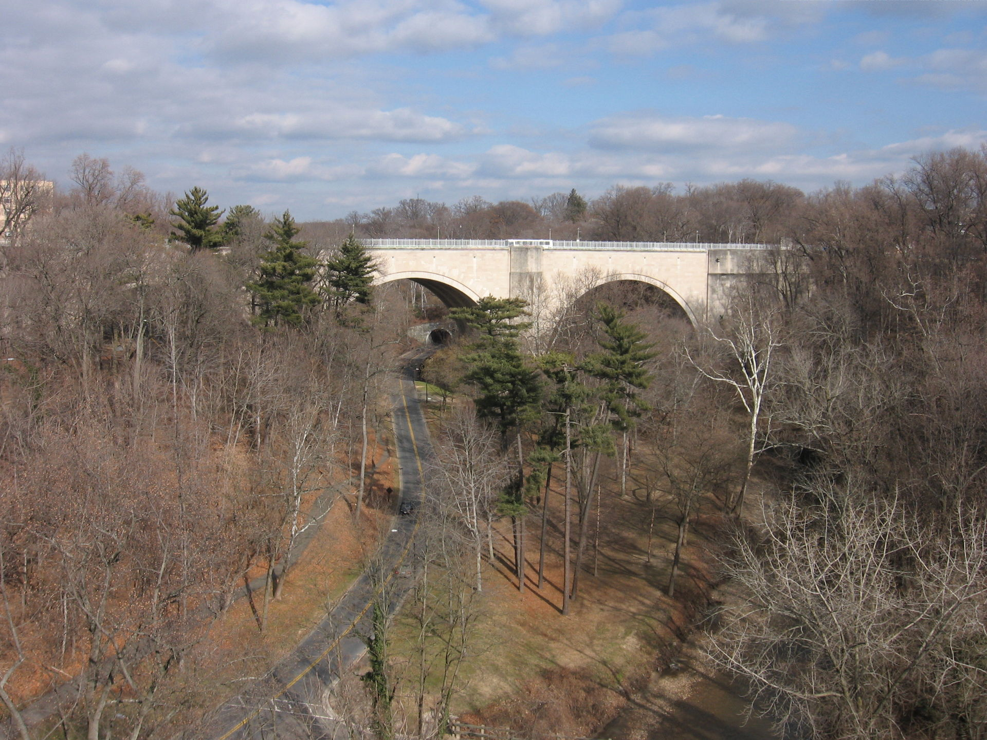 The Duke Ellington Bridge crosses over Rock Creek and the Rock Creek Parkway. Wikimedia Commons.